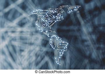地図, 作られた, 北, サーキット, アメリカ, マイクロチップ, 電子, 南