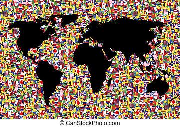 地図, 作られた, 旗, 背景, 世界