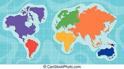 地図, 光景, 航空写真, 世界