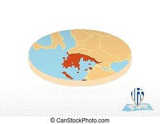 地図, 円, スタイル, 等大, 設計された, オレンジ, map., ギリシャ