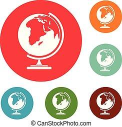 地図, 円, ベクトル, セット, アイコン