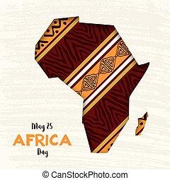 地図, 切口, アフリカ, ペーパー, アフリカ, 日, カード, 幸せ