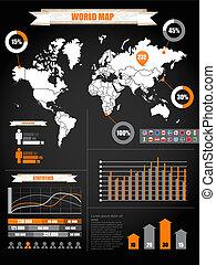 地図, 別, チャート, infographics., 黒, 地球
