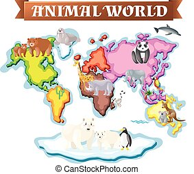 地図, 別, 部分, 動物, 世界
