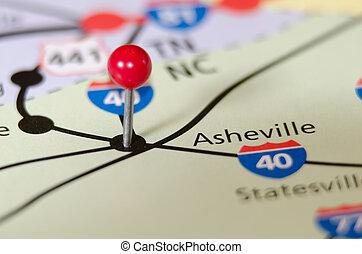 地図, 北, ピン, othe, asheville, カロライナ