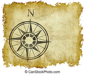 地図, 北, 矢, コンパス