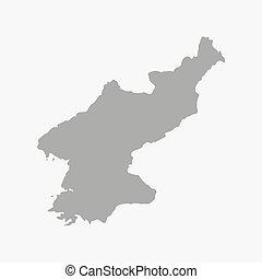 地図, 北, 背景, 灰色, 白, 韓国