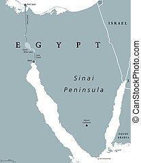 地図, 半島, 政治的である, シナイ, エジプト