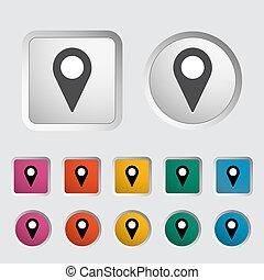 地図, 単一, ポインター, icon.