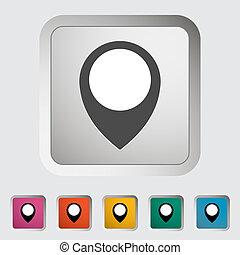 地図, 単一, icon., ピン