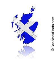 地図, 反射, render, スコットランド, イラスト, 旗, 3d