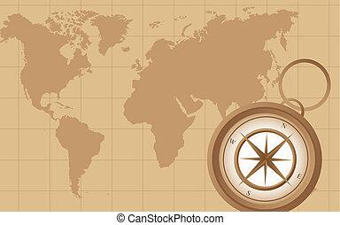 地図, 古い, コンパス