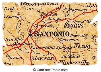 地図, 古い, サン・アントニオ
