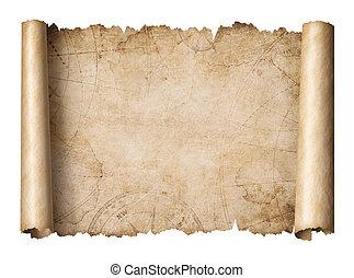 地図, 古い, 宝物, 隔離された, イラスト, スクロール, 3d