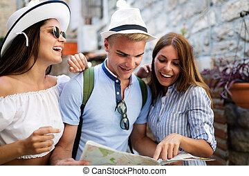 地図, 古い 都市, 休暇, グループ, 友人, 観光客