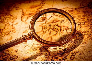 地図, 古代, うそ, 型, ガラス, 世界, 拡大する