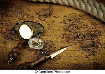 地図, 古代, うそ, 型, -, ガラス, 物語, 冒険, 背景, コンパス, 世界, 拡大する