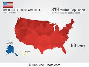 地図, 合併した, アメリカ, 州, ピクセル, america., daimond, 地球, texture.