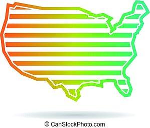 地図, 合併した, ストライプ, 州, デザイン, ロゴ, 横