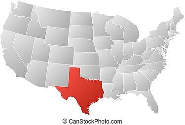 地図, 合併した, -, テキサス, 州