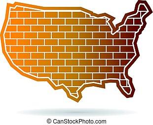 地図, 合併した, 壁, 州, デザイン, ロゴ