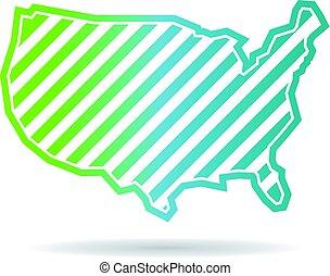 地図, 合併した, 斜め, ストライプ, 州, デザイン, ロゴ