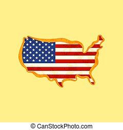 地図, 合併した, 有色人種, -, 私達, 州, 旗