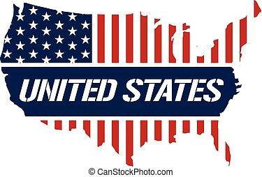 地図, 合併した, graphic., イラスト, 州, ベクトル, デザイン, 愛国心が強い