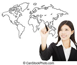 地図, 図画, 女性の 微笑, ビジネス, 世界的である, 概念