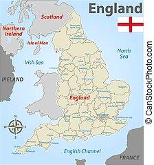 地図, 地区, イギリス\