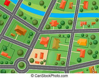 地図, 地区, 郊外