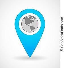 地図, 地域, 印, 世界, アメリカ, 地球, アイコン