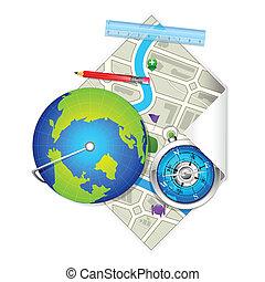 地図, 地球, コンパス