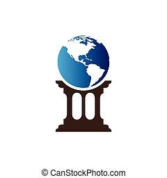 地図, 地球, ベクトル, テンプレート, 柱, アイコン