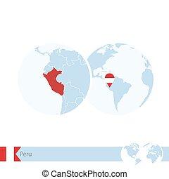 地図, 地球, 地域である, 旗, ペルー, 世界, peru.