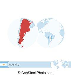 地図, 地球, 地域である, 旗, 世界, アルゼンチン, argentina.