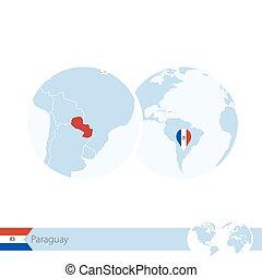 地図, 地球, 地域である, 旗, paraguay., パラグアイ, 世界