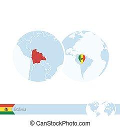 地図, 地球, 地域である, bolivia., 旗, 世界, ボリビア