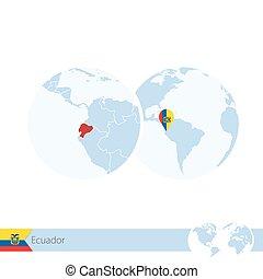 地図, 地球, 地域である, ecuador., 旗, 世界, エクアドル