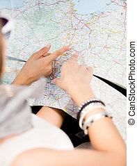 地図, 女の子, ハイウェー