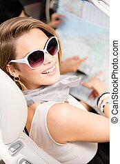 地図, 女の子, ハイウェー, 自動車
