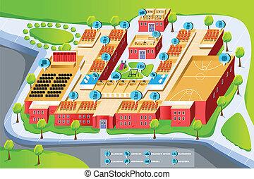 地図, 学校