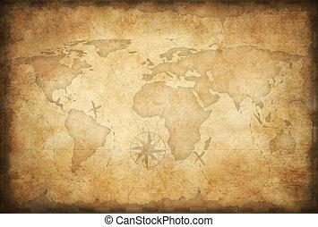 地図, 宝物, 年を取った, 背景