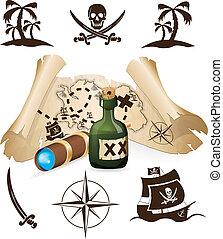地図, 宝物, 海賊, コレクション