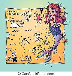 地図, 宝物, mermaid