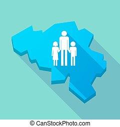 地図, 家族, 親, pictogram, 長い間, 単一, ベルギー, 影, マレ