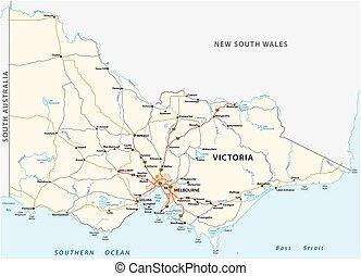 地図, 州, オーストラリア人, 道, ビクトリア