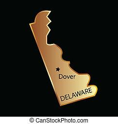 地図, 州, デラウェア, 金