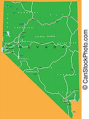 地図, 州, ネバダ, 政治的である