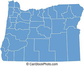 地図, 州, ベクトル, オレゴン